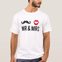 Mr and Mrs, mustache and red lips T-Shirt