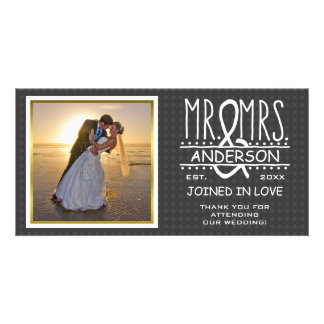 Mr and Mrs Name Ampersand Photo Wedding Thank You Card