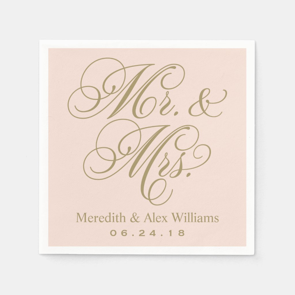 Mr. and Mrs. Napkins | Antique Gold and Blush Pink