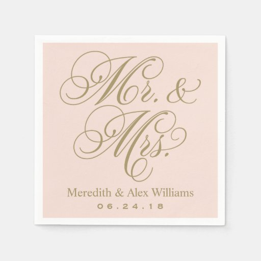 Mr. and Mrs. Napkins Antique Gold and Blush Pink