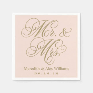 Mr. and Mrs. Napkins | Antique Gold and Blush Pink Standard Cocktail Napkin