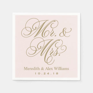 Mr. and Mrs. Napkins | Antique Gold and Pale Pink Paper Napkin