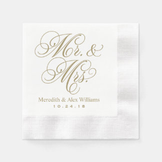 Mr. and Mrs. Napkins | Antique Gold and White