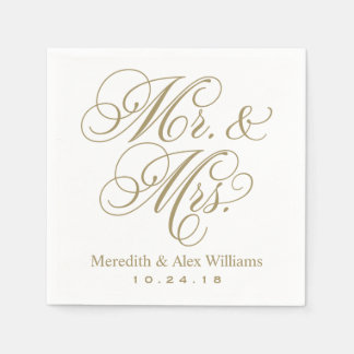 Mr. and Mrs. Napkins | Antique Gold and White Paper Napkin