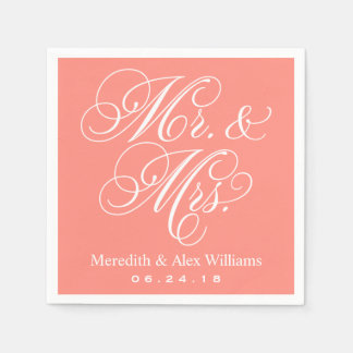 Mr. and Mrs. Napkins | Coral and White Paper Napkins