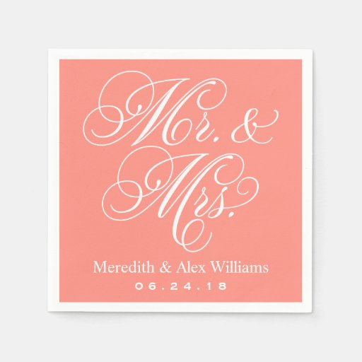 Mr. and Mrs. Napkins | Coral and White Standard Cocktail Napkin