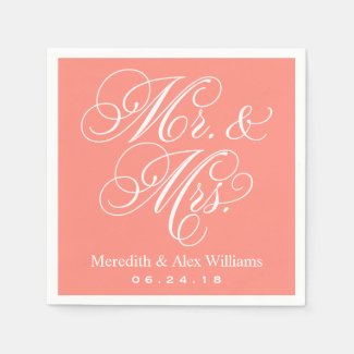 Mr. and Mrs. Napkins | Coral Pink
