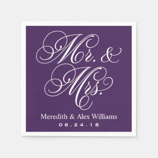 Mr. and Mrs. Napkins | Eggplant Purple and White