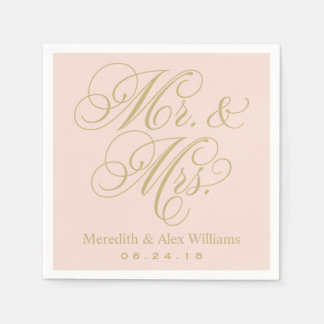 Mr. and Mrs. Napkins | Gold and Blush Pink Standard Cocktail Napkin