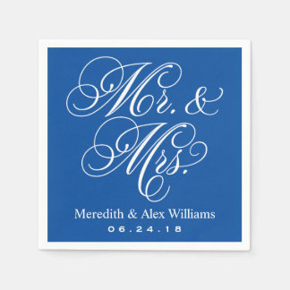 Mr. and Mrs. Napkins | Royal Blue and White
