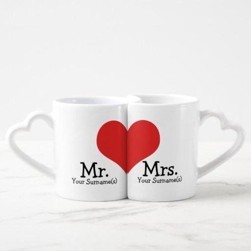 Mr and Mrs Newly Wed Heart Wedding Couples' Coffee Mug Set