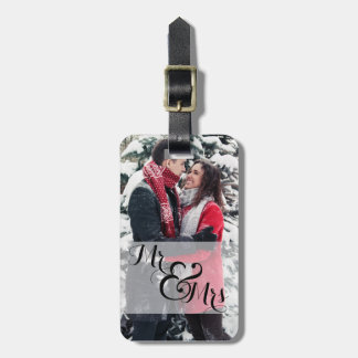 Mr. and Mrs. Newlywed Photo Wedding Ring Luggage Tag
