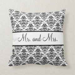 Mr. and Mrs. Newlywed Pillow - Black and White