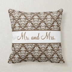 Mr. and Mrs. Newlywed Pillow - Brown