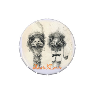 Mr. and Mrs. Ostrich Candy Tins