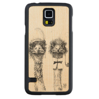 Mr. and Mrs. Ostrich Carved Maple Galaxy S5 Case