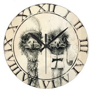 Mr. and Mrs. Ostrich Clocks