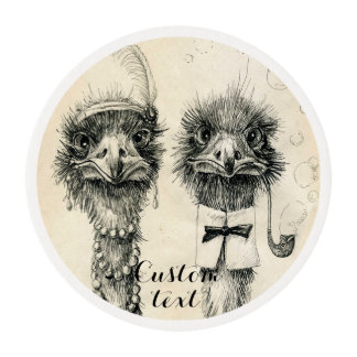 Mr. and Mrs. Ostrich Fancy wedding Edible Frosting Rounds