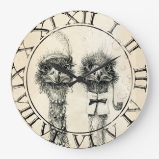 Mr. and Mrs. Ostrich Large Clock