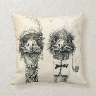 Mr. and Mrs. Ostrich Throw Pillows