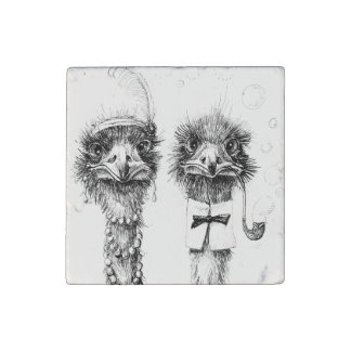 Mr. and Mrs. Ostrich wedding couple Stone Magnet