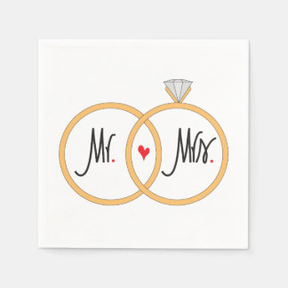Mr. and Mrs. Overlapping Wedding Rings Napkins