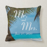 Mr. and Mrs. Palm Trees On Beach Wedding Pillows Pillow