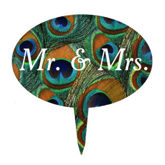 Mr and Mrs Peacock Feather Print Cake Topper