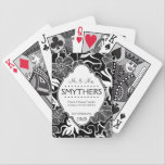 "Mr and Mrs Personalized Anniversary or Wedding B&amp;W Bicycle Playing Cards<br><div class=""desc"">This is a wonderful way to celebrate the happy couple&#39;s wedding or anniversary! The couple that plays together, stays together! Personalized playing cards in a pretty and modern bold black and white floral pattern, with a fancy label tag that can be custom created with the surname and wedding date. These...</div>"