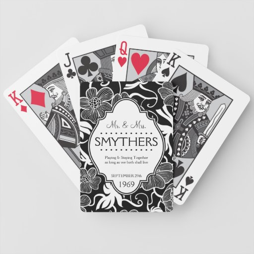 Mr and Mrs Personalized Anniversary or Wedding B&W Playing Cards