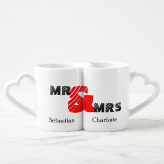 Mr and Mrs Personalized Couples Red & Black Coffee Mug Set