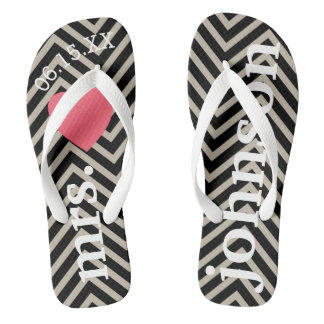 Mr. and Mrs. Personalized Honeymoon with Heart Flip Flops