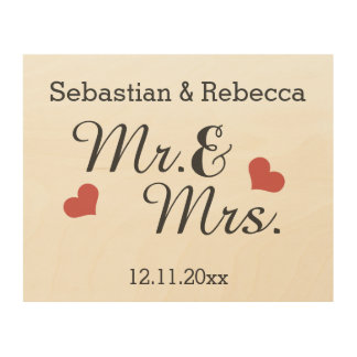 Mr And Mrs Personalized Name And Date Of Marriage Wood Wall Art