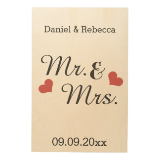 Mr And Mrs Personalized Name And Date Of Marriage Wood Canvas