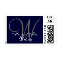Mr. and Mrs. Personalized Navy Blue Gray Monogram Postage