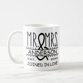 Mr and Mrs Personalized Wedding Last Name Date Coffee Mug