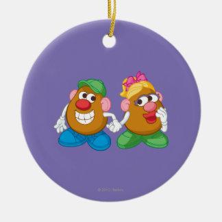 Mr. and Mrs. Potato Head Holding Hands Ceramic Ornament