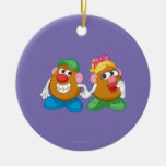 Mr. and Mrs. Potato Head Holding Hands Double-Sided Ceramic Round Christmas Ornament