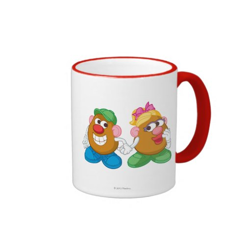 Mr. and Mrs. Potato Head Holding Hands Ringer Coffee Mug