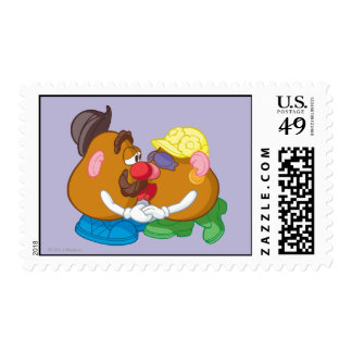 Mr. and Mrs. Potato Head Kissing Postage Stamp