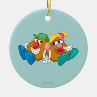 Mr. and Mrs. Potato Head Laying Down Holding Hands Ceramic Ornament