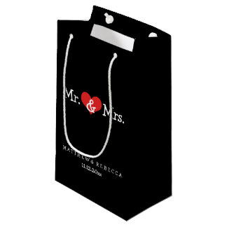 Mr and Mrs Red Heart Wedding Personalized Small Gift Bag