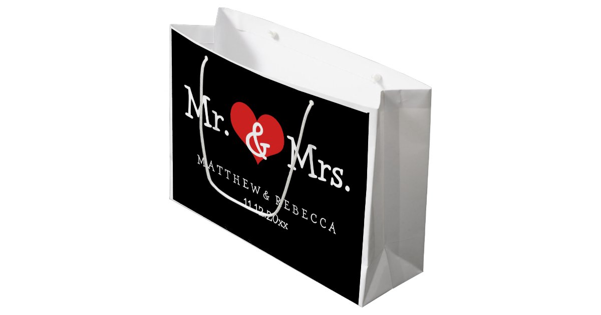 Zazzle Wedding Gift Bags : Mr and Mrs Red Heart Wedding Personalized Large Gift Bag Zazzle