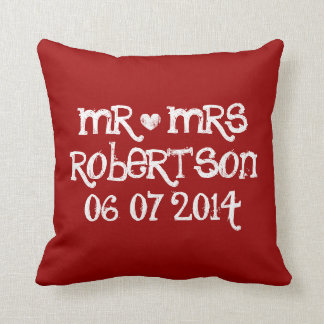 Mr and Mrs red love heart wedding throw pillows