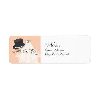 Mr and Mrs Return Address Label - Orange