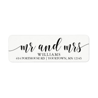 MR AND MRS Return Address Labels Script Modern