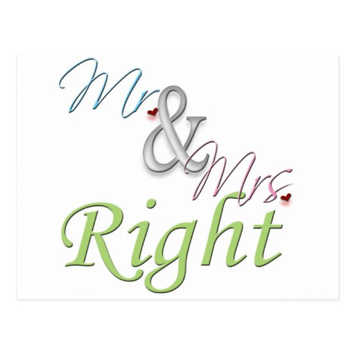 Mr. and Mrs. Right Post Card