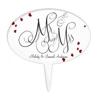 Mr and Mrs | Ruby and Diamond Hearts Cake Topper