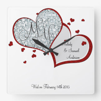 Mr and Mrs | Ruby and Diamond Hearts Square Wall Clock