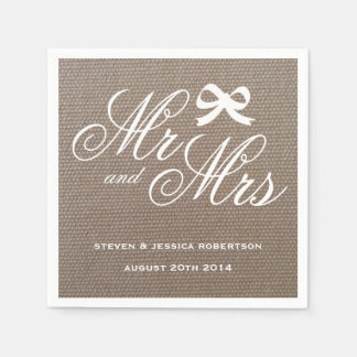 Mr and Mrs rustic burlap country wedding napkins